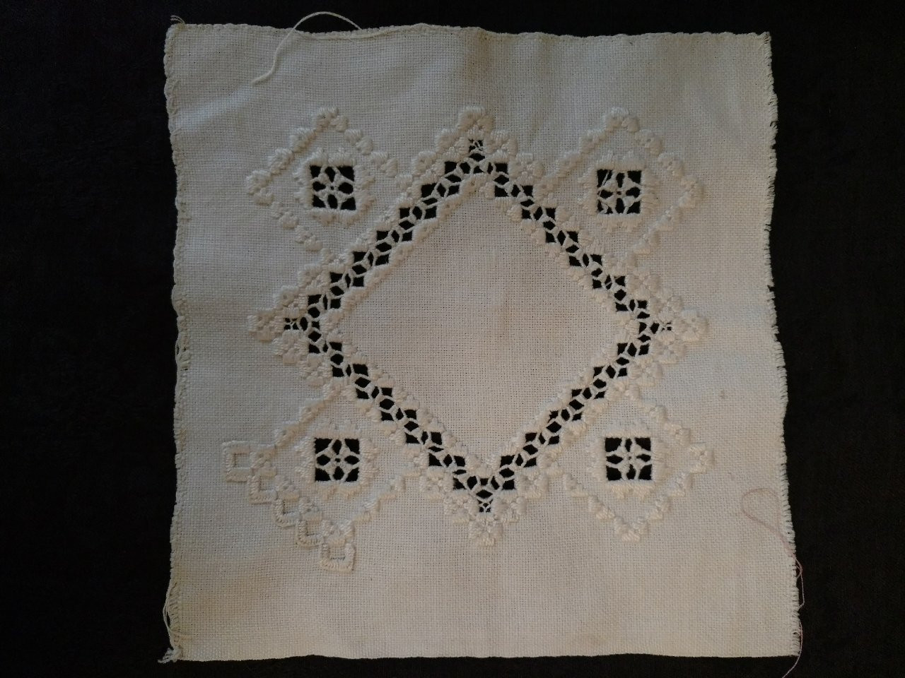 Vintage Hardanger Embroidery  Needlework Square Unfinished Edge
