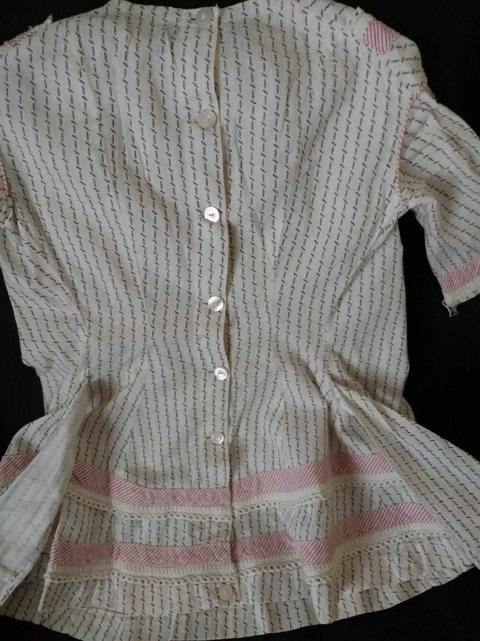 Victorian Baby Child Dress Black White Calico Red Stripe Trim 1880s