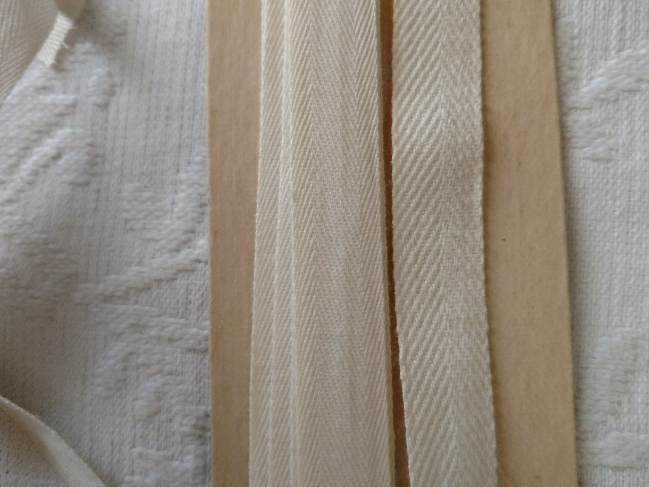 2 Old Sewing Notion Twill Tape Trim White Cotton  Different Weaves Unused