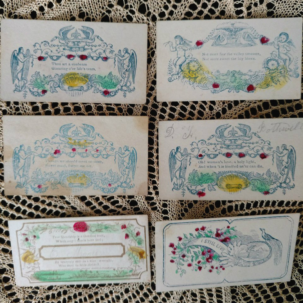 6 Pre Civil War Calling Cards Victorian Hand Colored Written Names New York