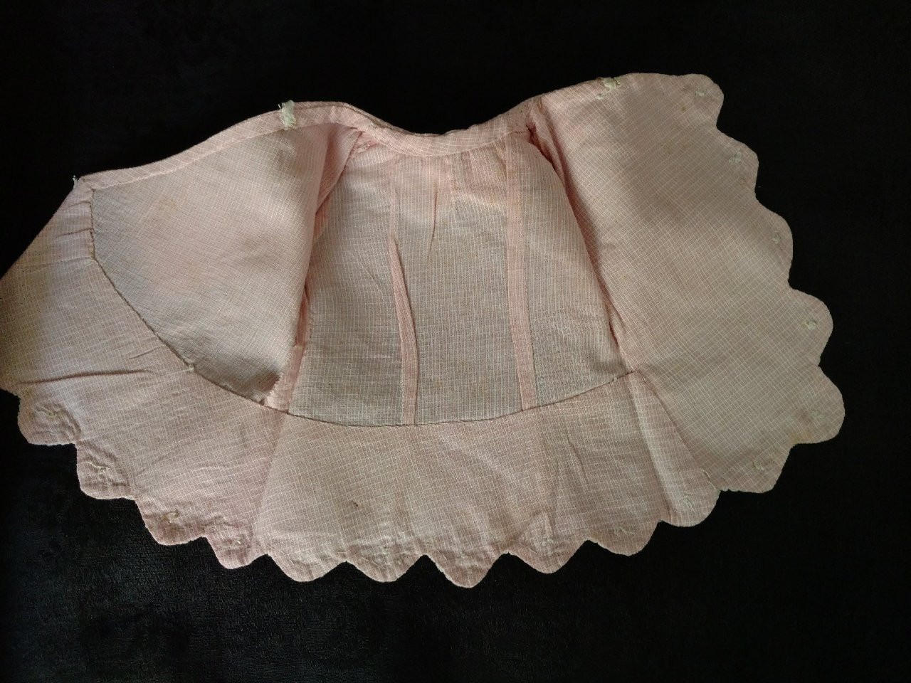 Antique Fashion Doll Edwardian Jacket Pink Pearl Buttons Trim