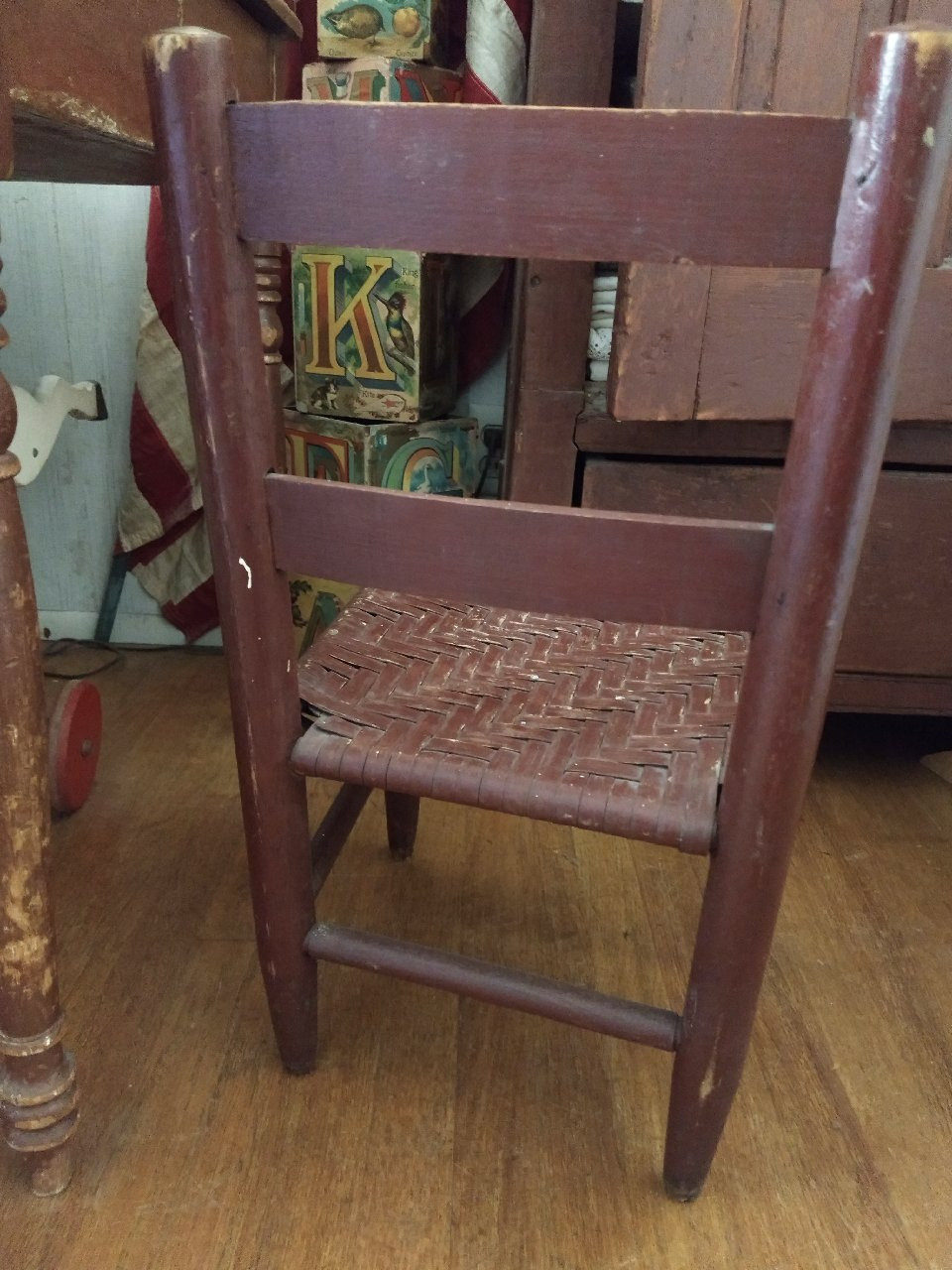 Antique Child Ladder Back Chair Woven Splint Seat Red Stain Paint 1900s