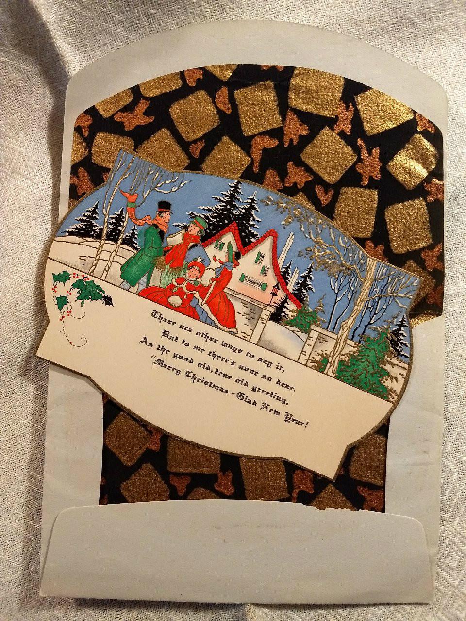 1920s Christmas Greeting Card Envelope Carolers Winter Scene