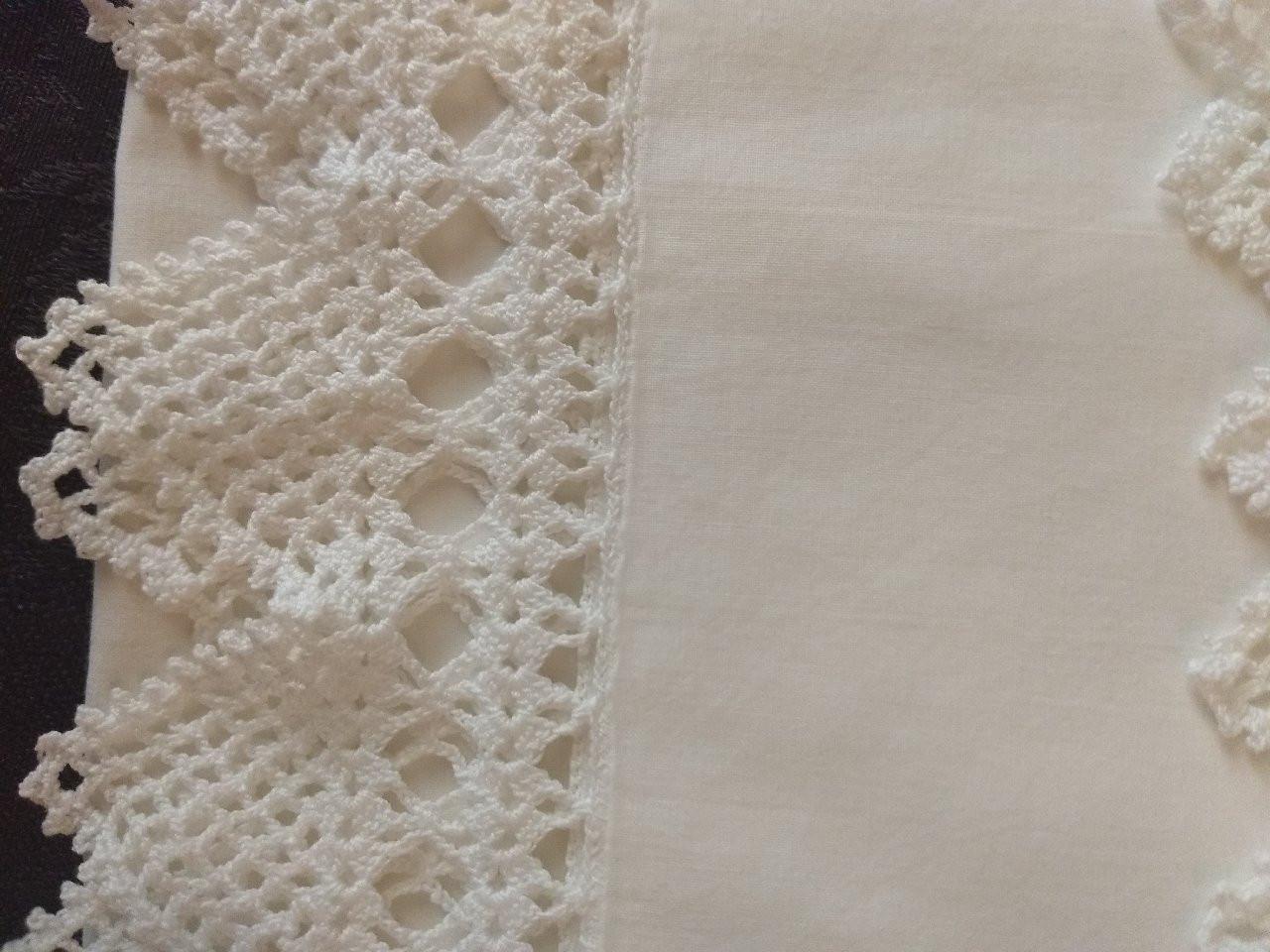 Vintage White Pillowcases Crochet Trim Edging 1930s 1950s
