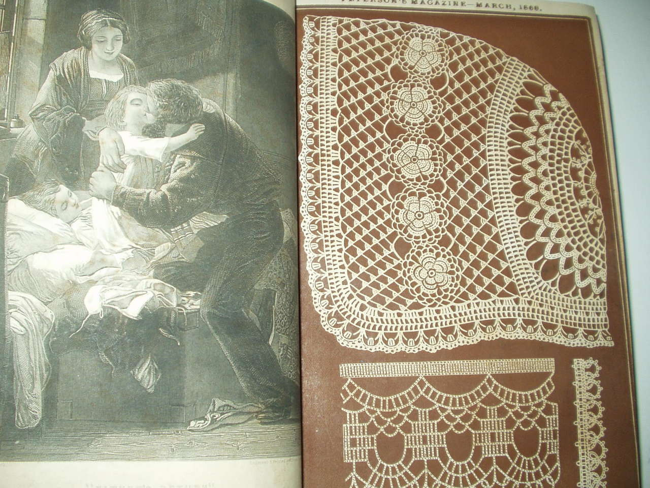 1869 Peterson Magazine Year  Bound Book 10 Color Fashion Pages Needlework