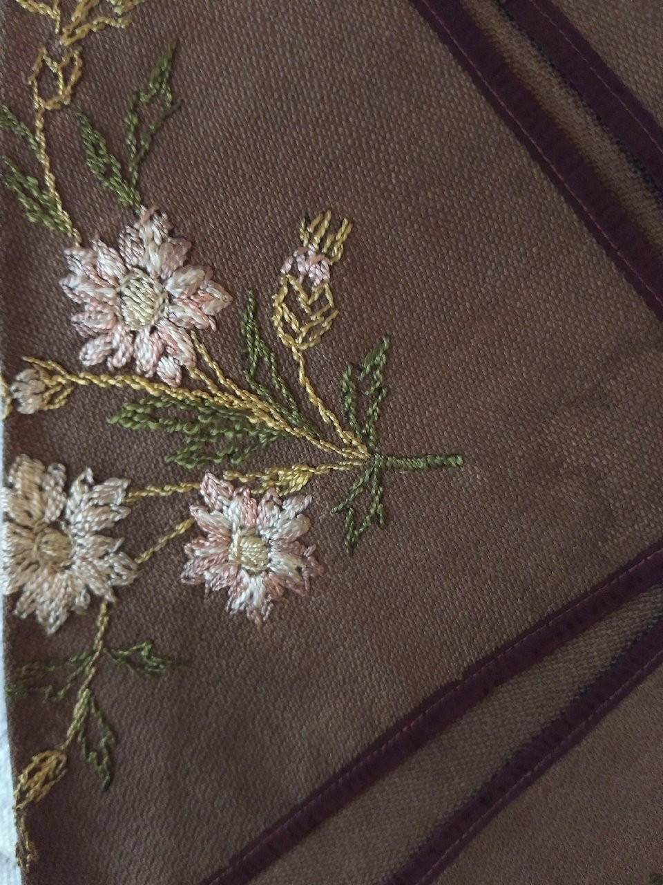 Society Silk Embroidery Napkin Holder  Linen Ribbon 1880s  Victorian