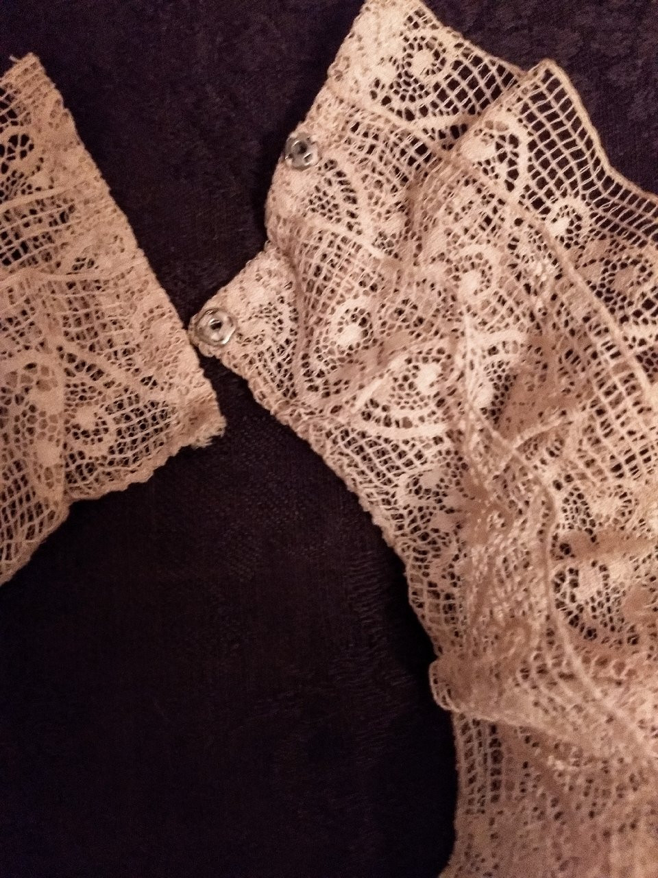 Vintage 1920 Lace Collar Bib Home Sewn Insertion Lace Trim