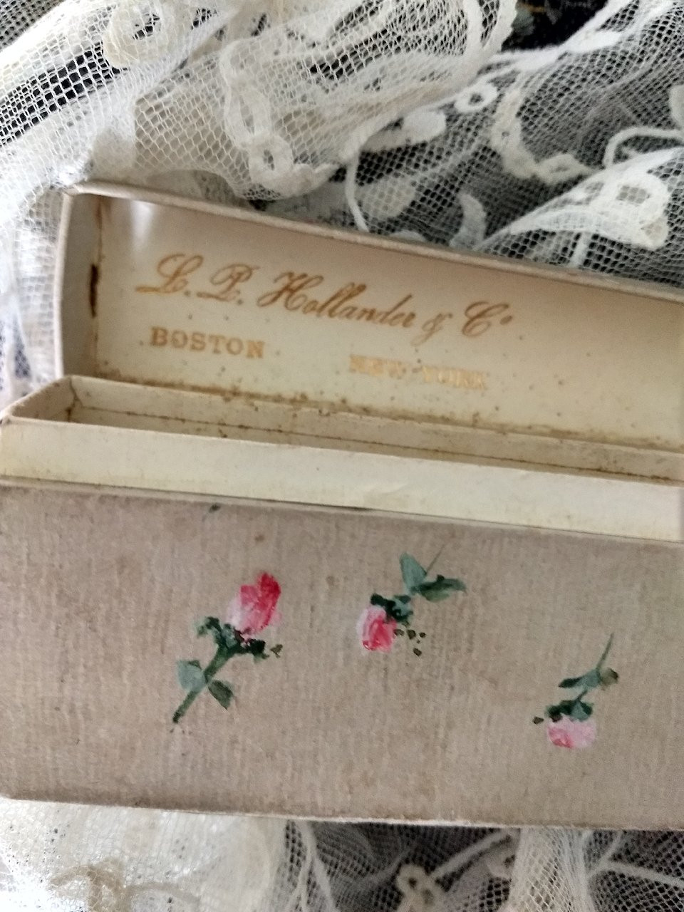 Antique Victorian Folding Fan Box Only Textured Paper Hand Painted Roses