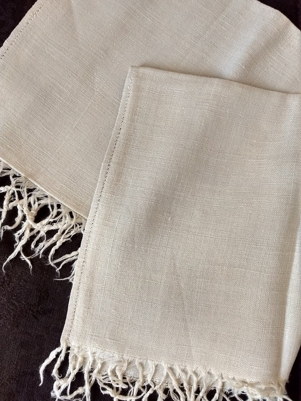 Antique Hand Woven Linen Homespun Towel Fringe With Ancestory  History
