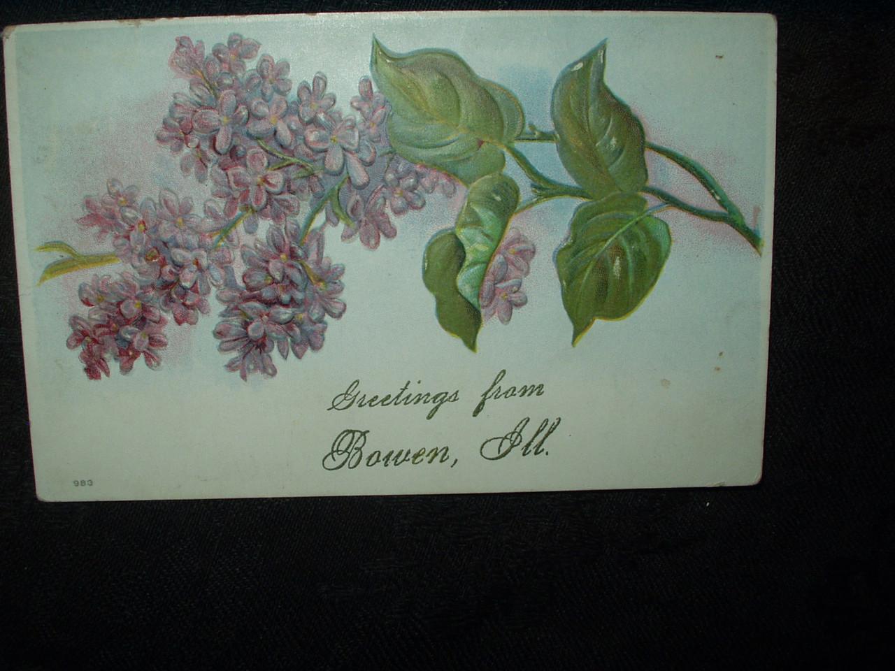 Vintage 1909 Bowen Illinois Postcard  DieCut Lilac Flowers