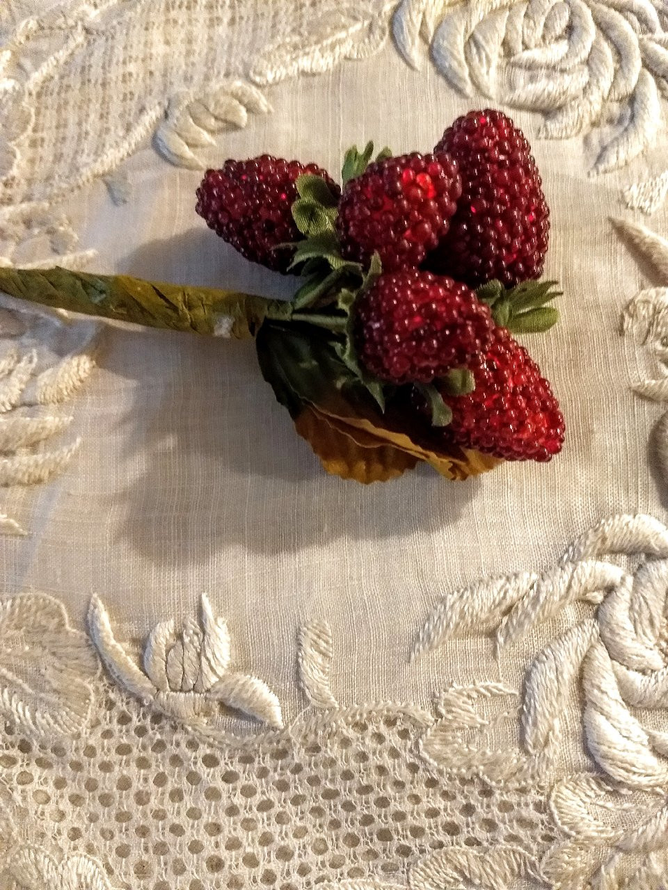 1950s Millinery Dress Artificial Grape Cluster Corsage Fabric Leaves Vintage