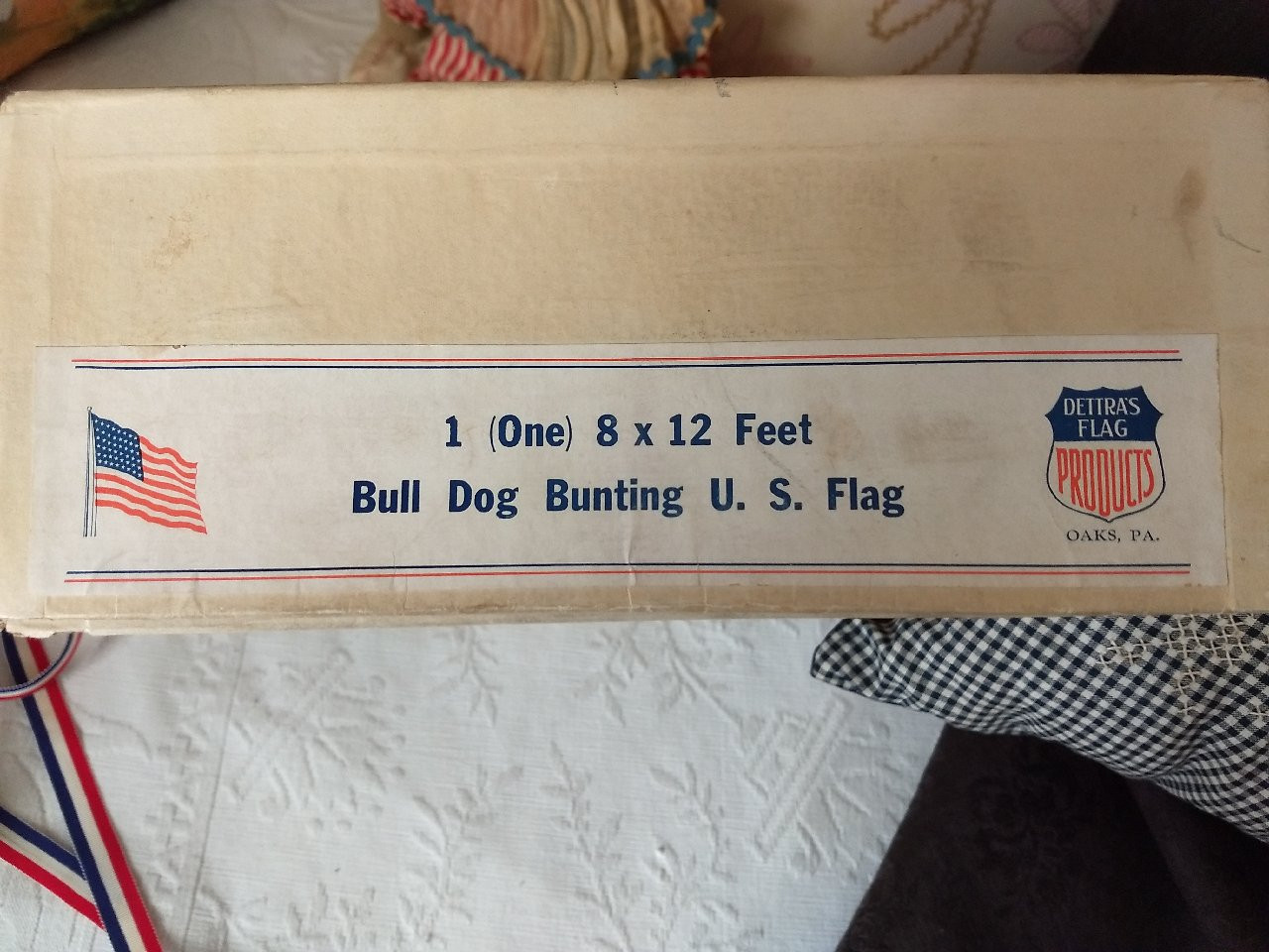 Vintage 1940 Bull Dog Bunting US Flag Box Only Patriotic Advertising