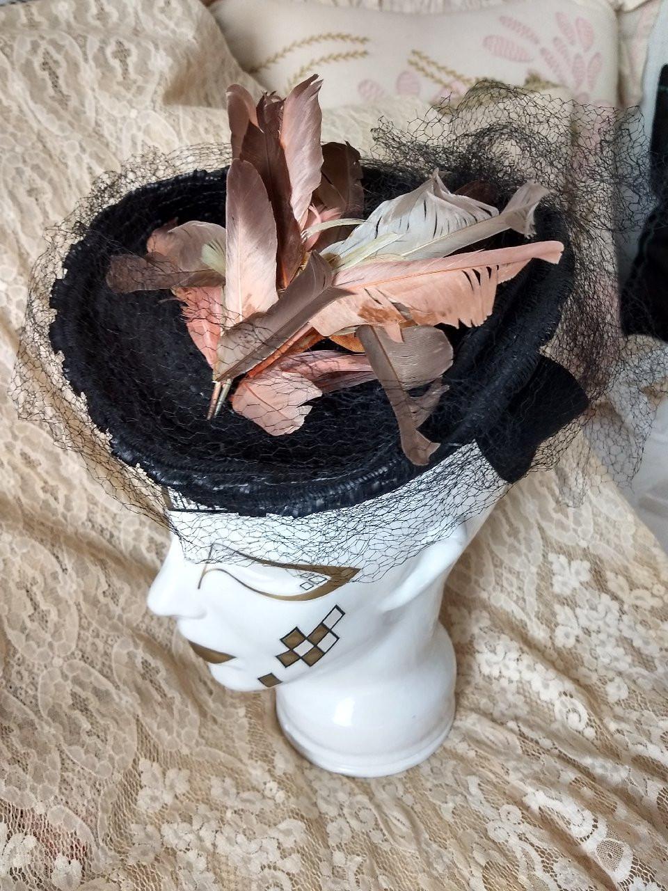 1940s Straw Tilt Hat Tri Corner Millinery Feathers Veiling Embellishment