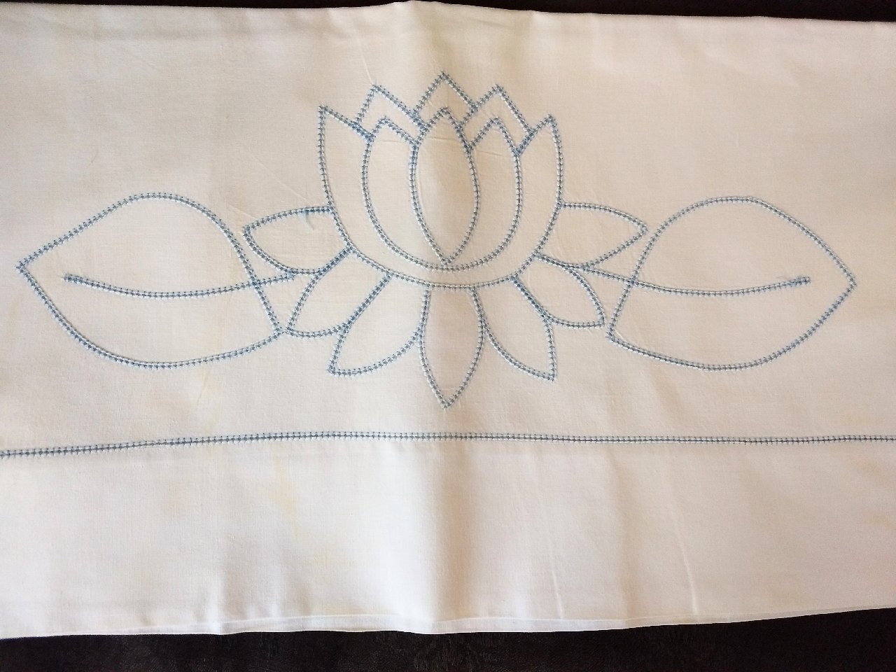 1950s Vintage Pillowcase Blue Hemstitch Lily Pad Bed Linen