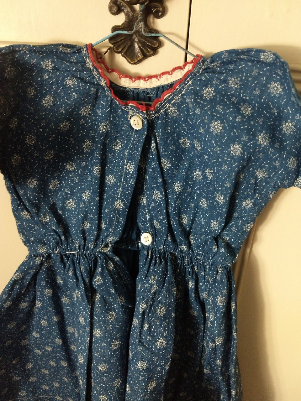 Farmhouse Country Blue Calico Doll Dress Red Trim 1900's Primitive Textile