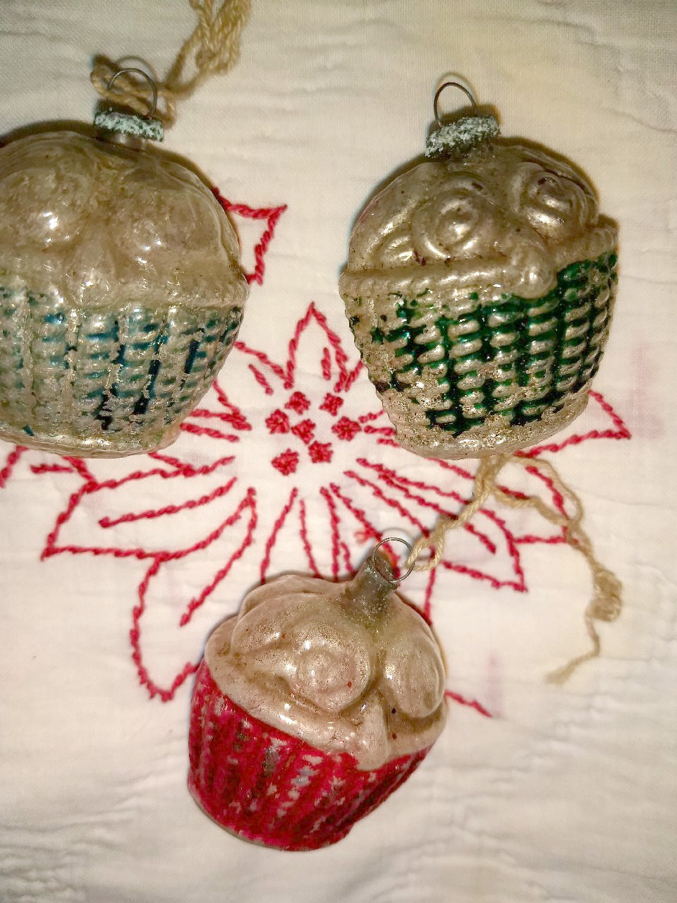 5 Antique Glass Flower Basket Christmas Ornament Vintage 1920's