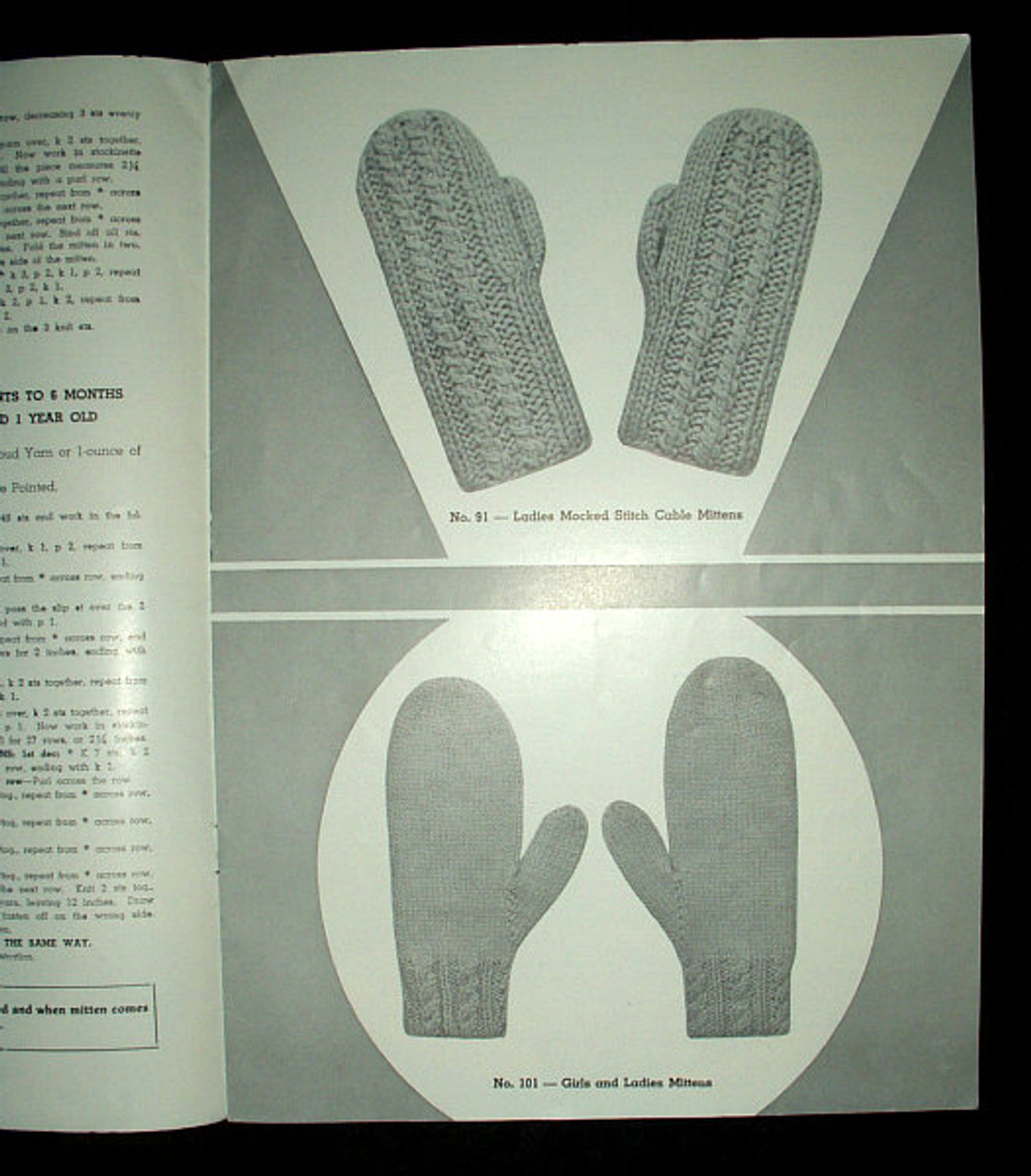Vintage 1945 Easy To Knit Mittens Instruction Pattern Book Infant to Adult