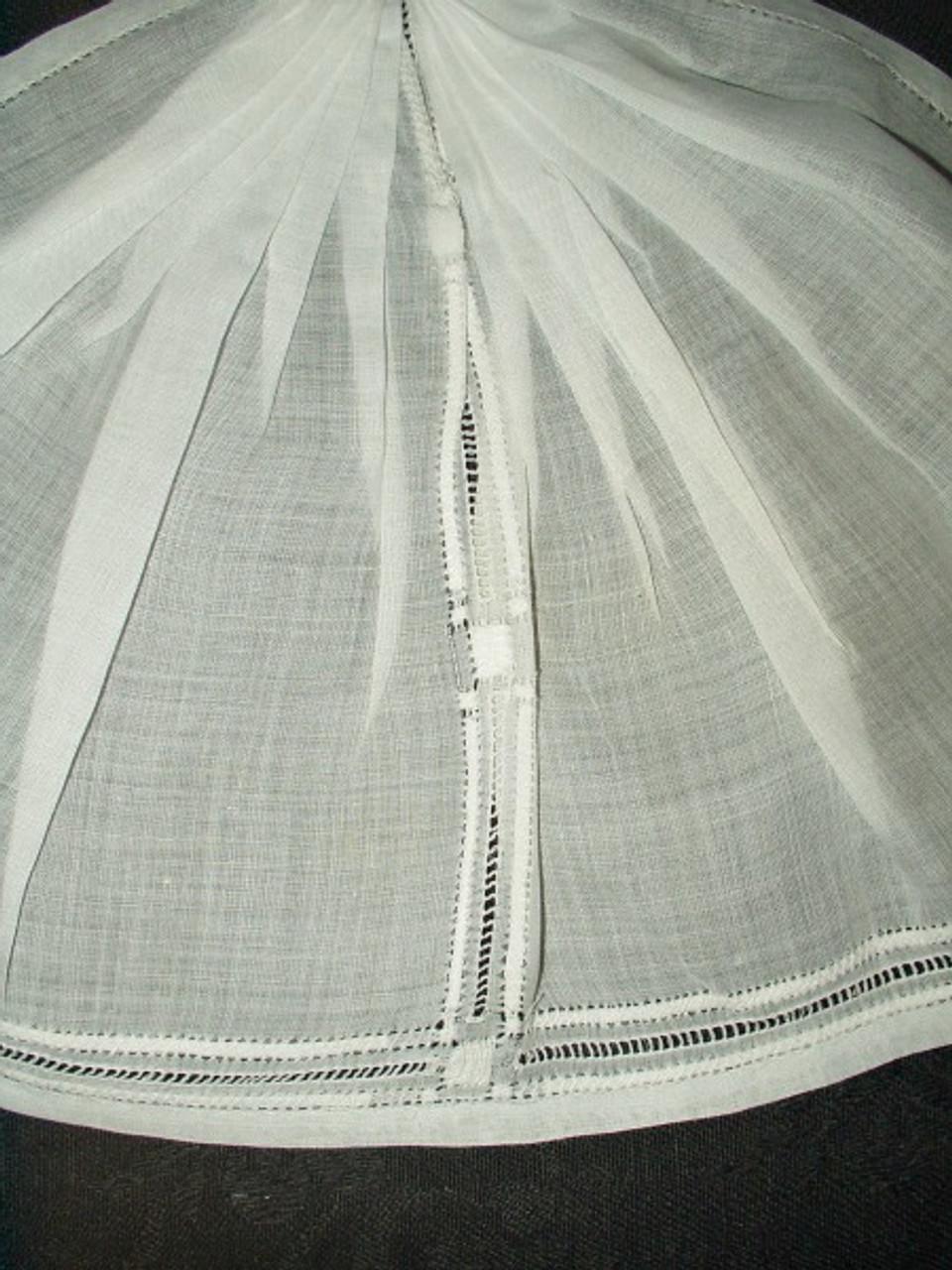 Antique Victorian Edwardian Drawn and Hemstitched White Batiste Jabot Collar