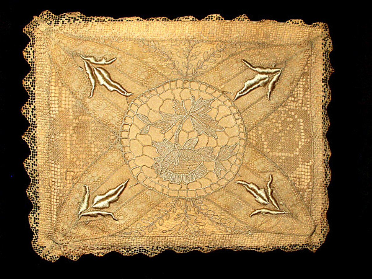 Vintage 1920s Silk Lingerie Handkerchief  Hanky Case Mixed Lace Cover