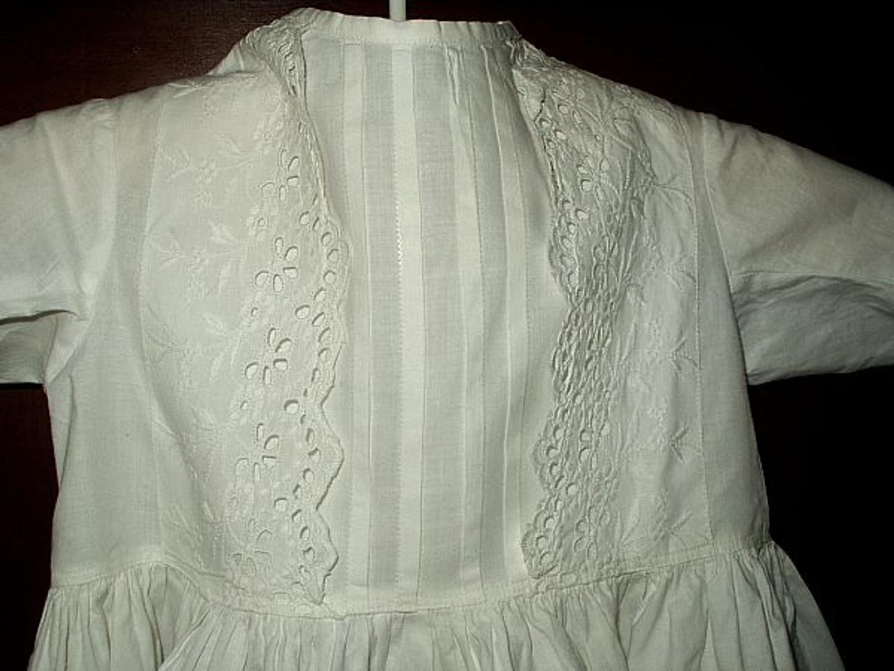 Antique Victorian Baby Infant Christening Dress  Tucks Eyelet Trim