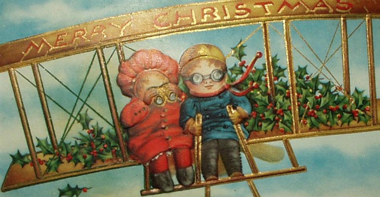 Antique Victorian Looking For Santa Children In Bi-Plane 1900 Postcard