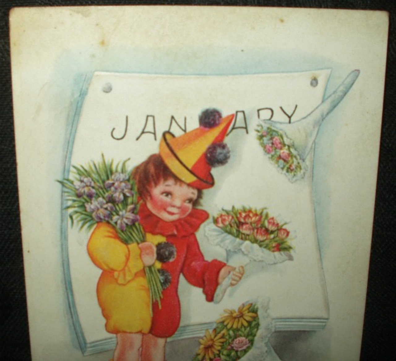 Antique Victorian 1900's New Year Greeting Die Cut Postcard A Howling Sucess