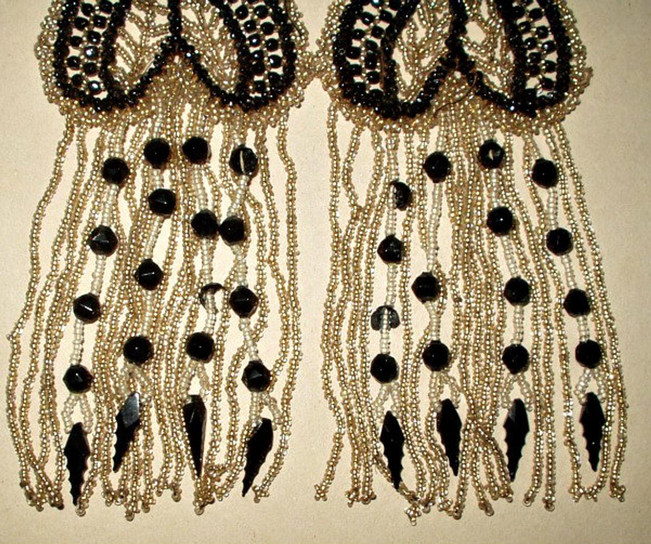 Antique Edwardian 1920's French Beaded  Dress Embellishment Trim
