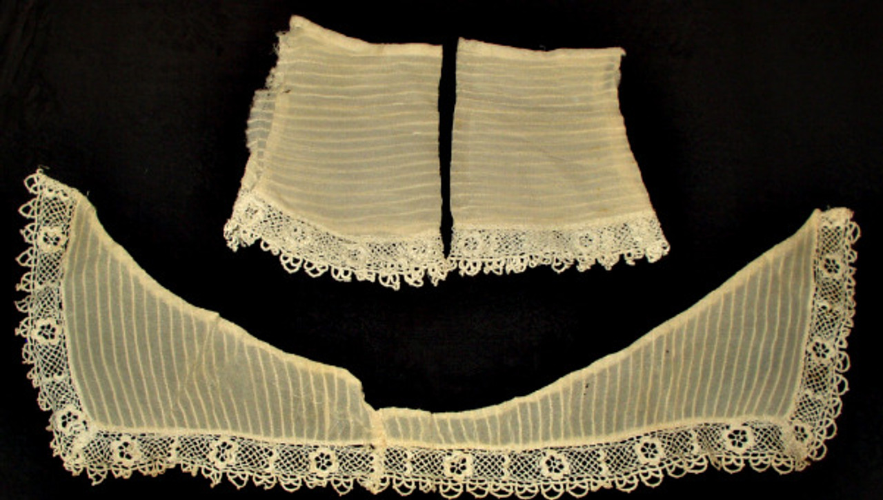 Vintage Late Edwardian 1920 Silk Chiffon Irish Crochet Collar and Cuffs