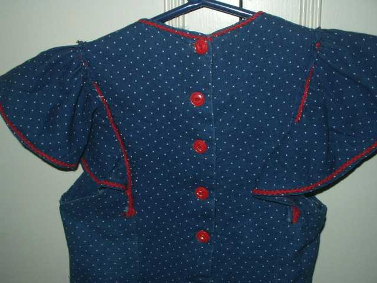 Vintage 1940 Children's Summer  Dress In A Blue Dot Fabric Red Trim