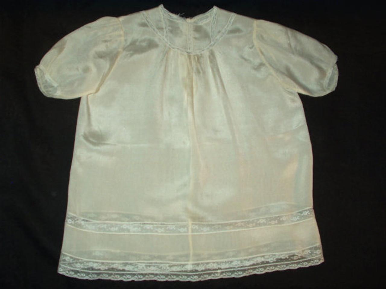 Antique Vintage Edwardian Cream Silk Children's Dress Lace Trim