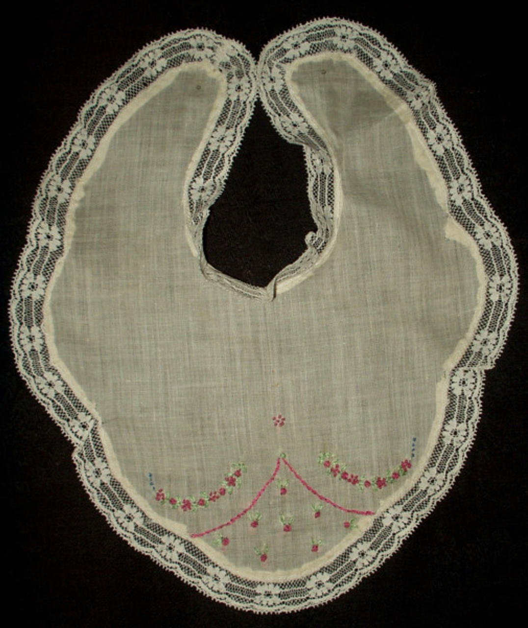 Vintage Early 1900 1930 Lace and Embroidery Organdy Baby Bib