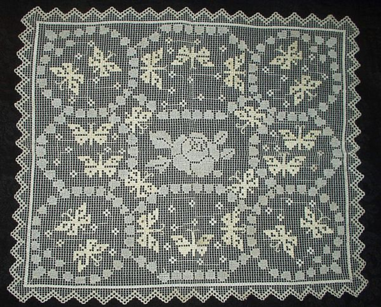 Antique Vintage 1920 Darned Net Lace Butterfly Rose Table Doily