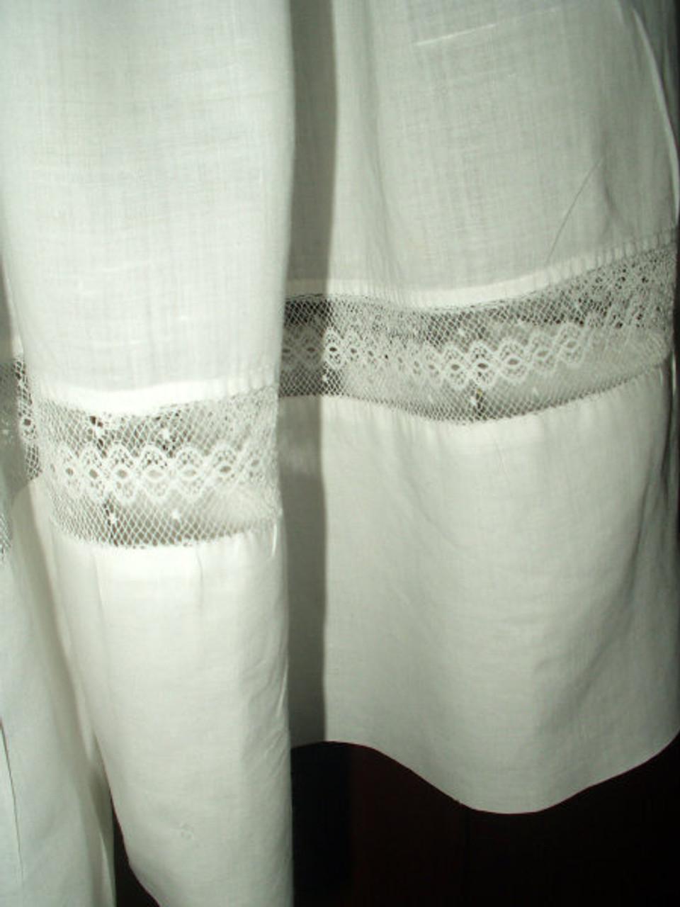 Victorian 1900 Batiste Children Dress Ruffle Collar Lace Inset
