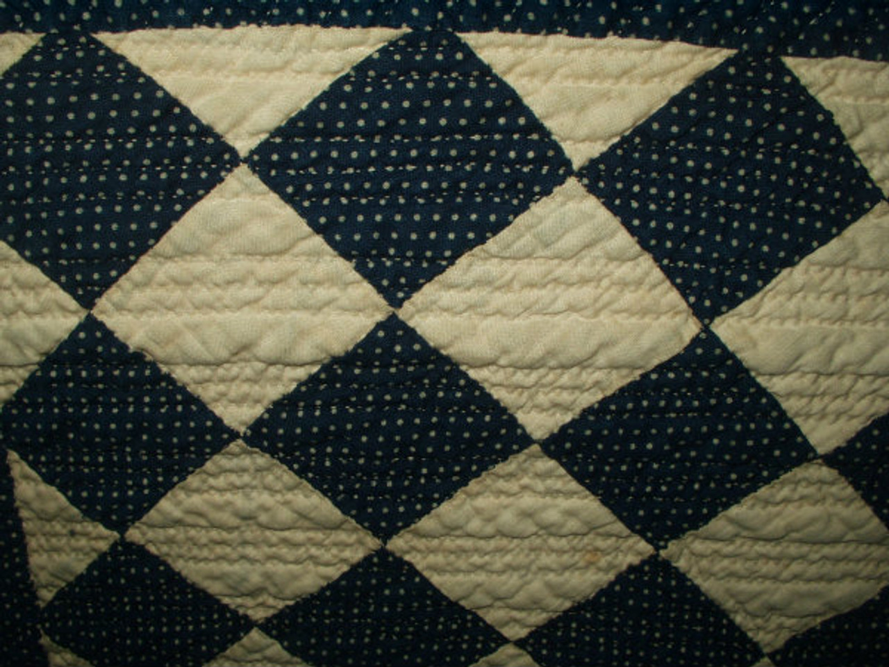 Late Victorian 1900 Blue And White Calico Handstitched Quilt