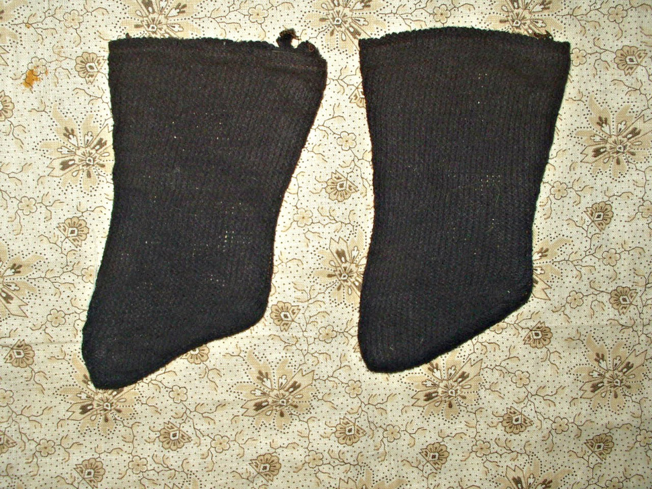 Country Primitive 1900's Old  Navy Blue Knit Stockings For Cloth Doll