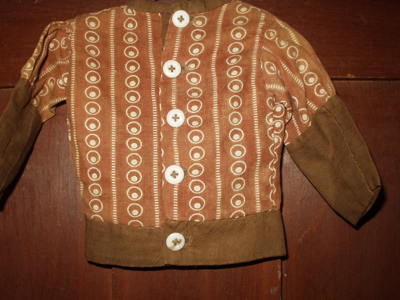 Victorian 1890's Primitive Brown Calico Fabric Doll Bodice Blouse