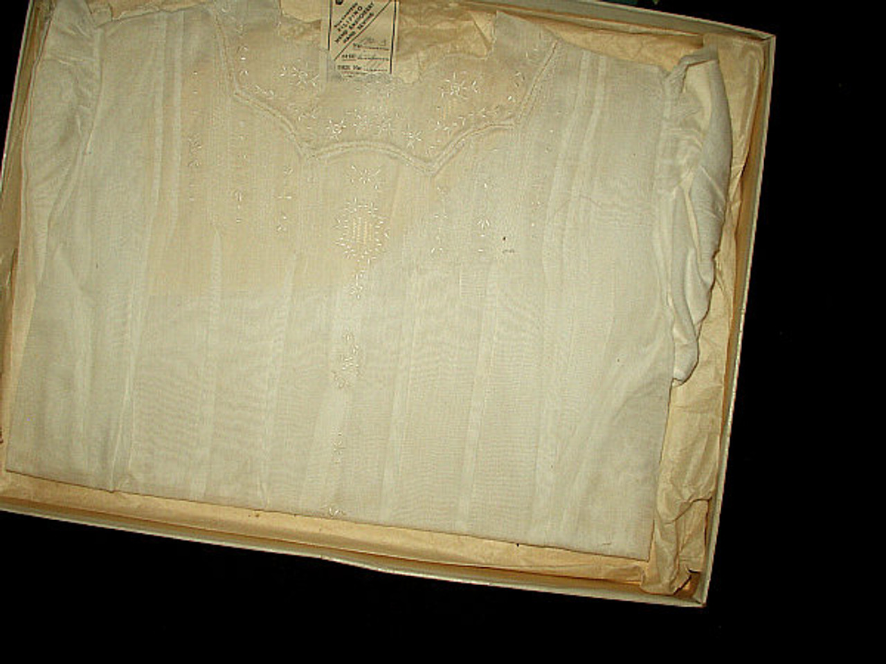 Vintage 1940's Boxed Hand Embroidery Pin Tucks Baby Dress