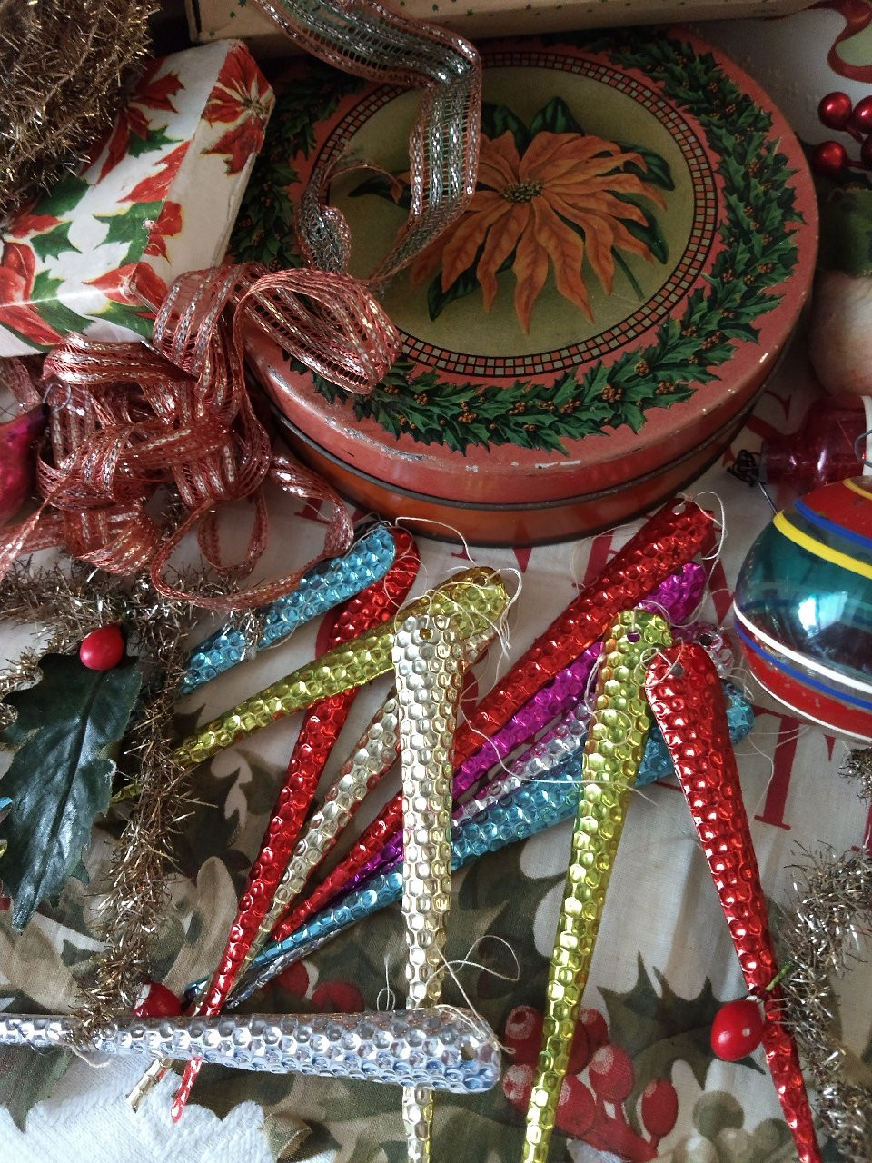Old Ornaments, Boxes And Bows, Tinsel Garland From A Christmas Past