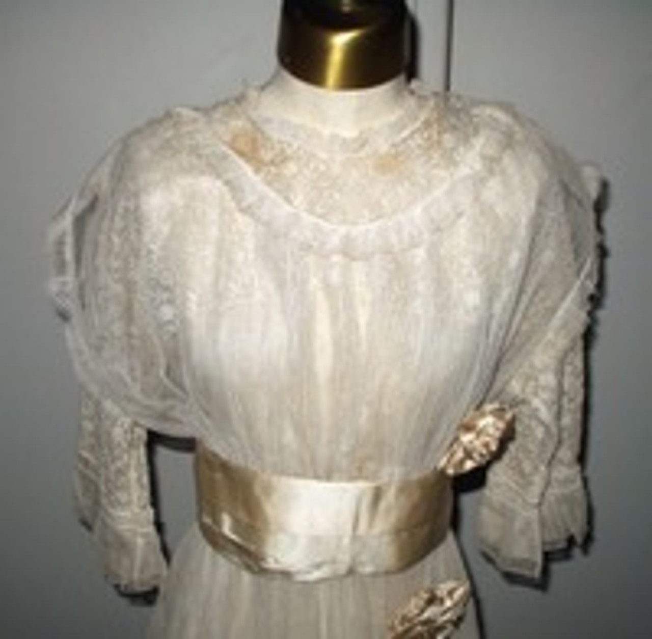 An Edwardian 1912-1915 Wedding Dress Of Tulle Lace And Satin Ribbons