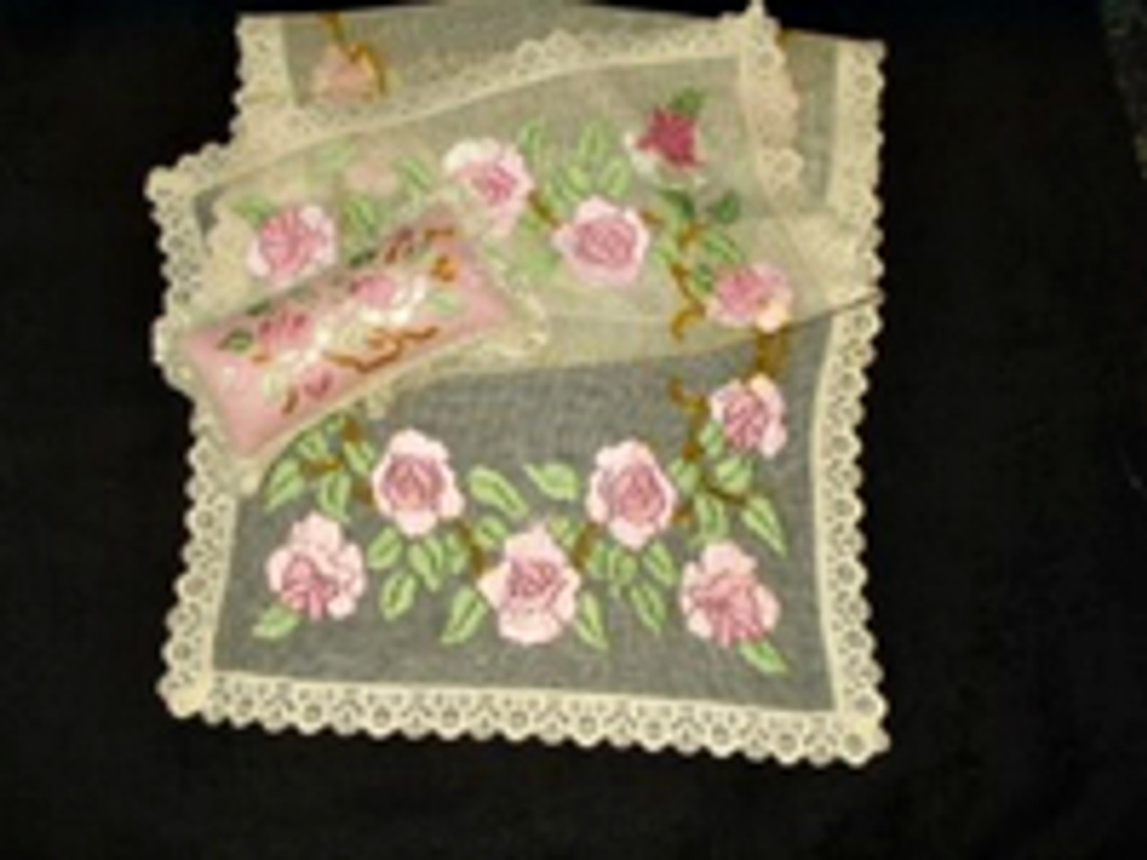 Ribbon Art ~ Handiwork Of The Victorian Edwardian Era ~ Dresser Runner And Matching Pincushion
