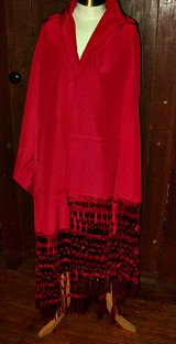 Antique Edwardian 1920 Fuchsia Rayon Silk Fringe Shawl Wrap