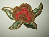 Vintage Chenille Gold Metallic Embroidery Dress Applique Embellishment Trim