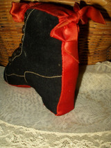 Antique Vintage Wool Satin High Button Shoe Sewing Pincushion