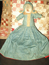 Old Victorian 1900 Rag Cloth Topsy Turvy Doll Red Blue Calico Dress