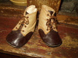 Antique 1900 Edwardian Brown Tan Leather Tie Up Baby Or Doll Shoes