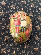 Antique Vintage 1920 German Paper Mache Easter Egg Children Animals Candy Container