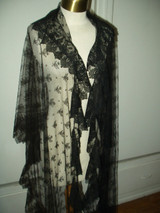 Antique Victorian Black Chantilly Lace Mourning Veil Shawl Wrap Wearable Art