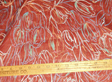 Vintage 1940 1950 Sheer Cotton Voile Tulip Motif Unused Dress Fabric