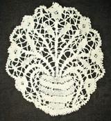 Antique Victorian Hand Bobbin Lace Flower Vase Doily Insertion Motif