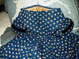Antique Victorian 1850s Children Or Doll  Blue Challis Print Dress Muslin Lining
